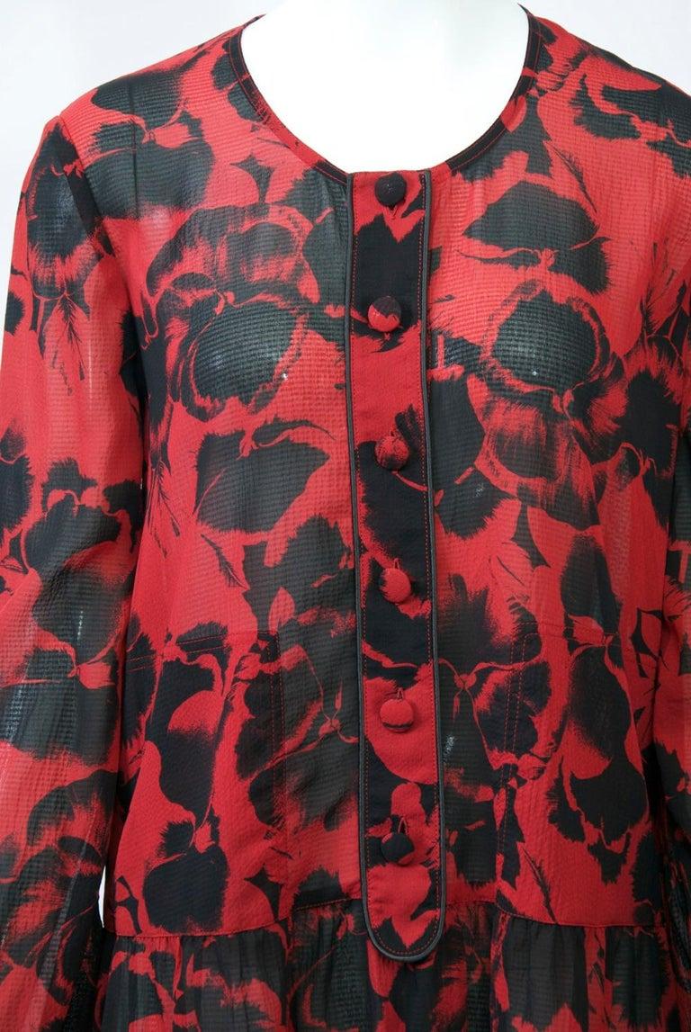 Brown Sonia Rykiel Red Print Dress For Sale