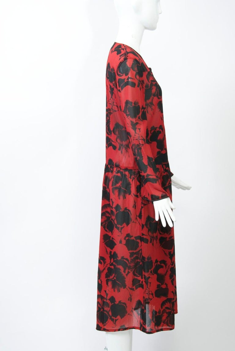 Women's Sonia Rykiel Red Print Dress For Sale