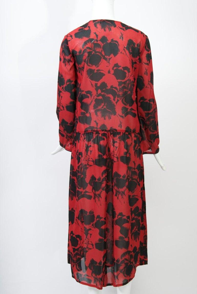 Sonia Rykiel Red Print Dress For Sale 1