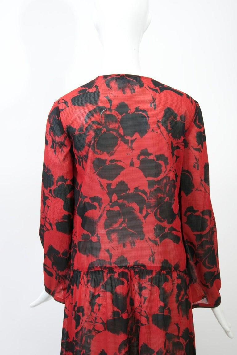 Sonia Rykiel Red Print Dress For Sale 2