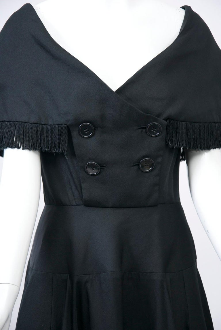Black Jacques Fath 1950s Dress with Fringed Collar For Sale