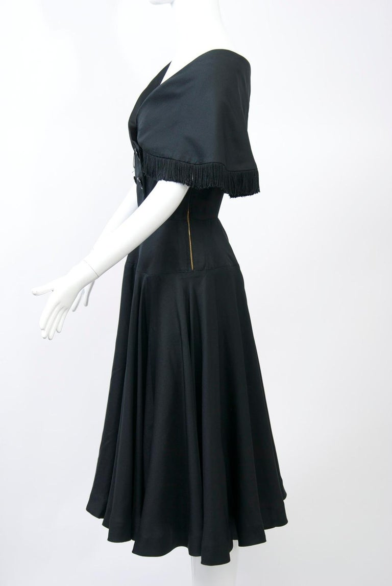 Jacques Fath 1950s Dress with Fringed Collar In Fair Condition For Sale In Alford, MA
