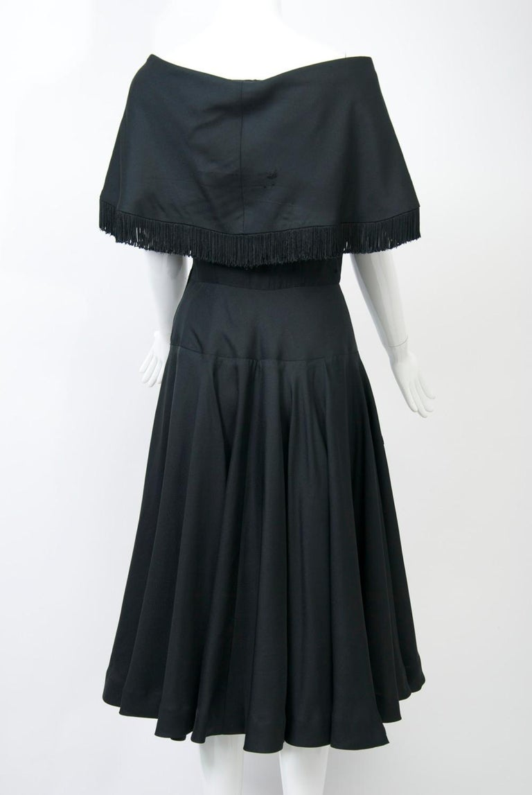 Women's Jacques Fath 1950s Dress with Fringed Collar For Sale