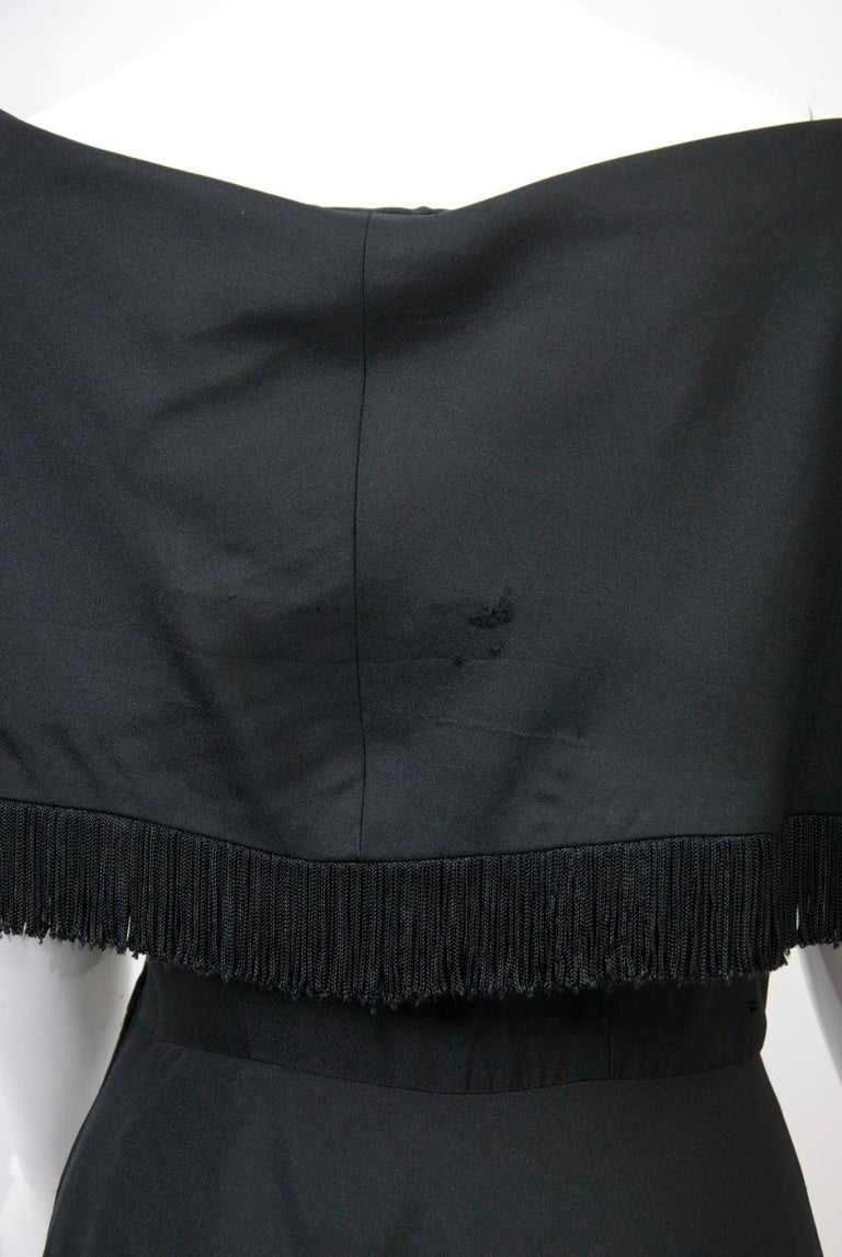 Jacques Fath 1950s Dress with Fringed Collar For Sale 1