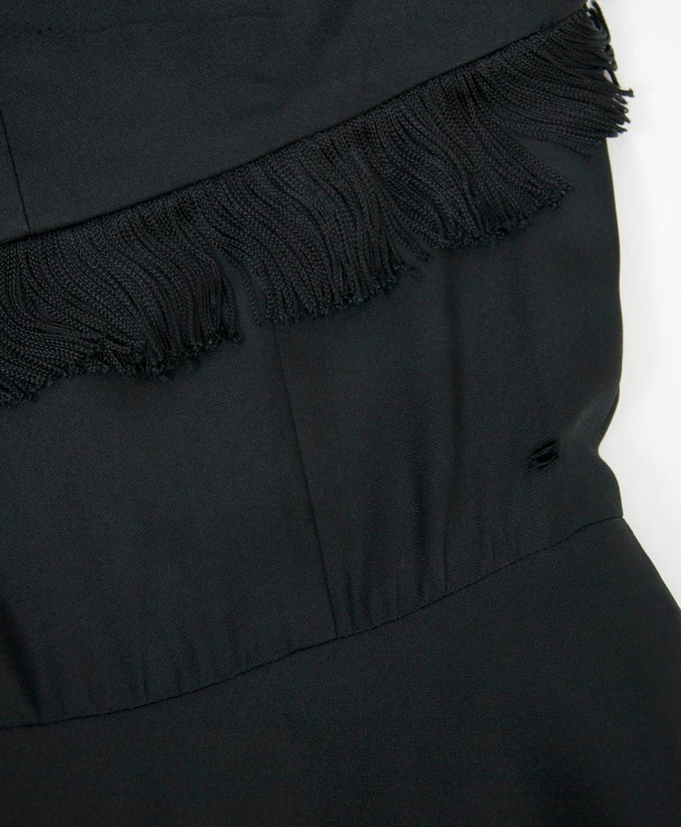 Jacques Fath 1950s Dress with Fringed Collar For Sale 2