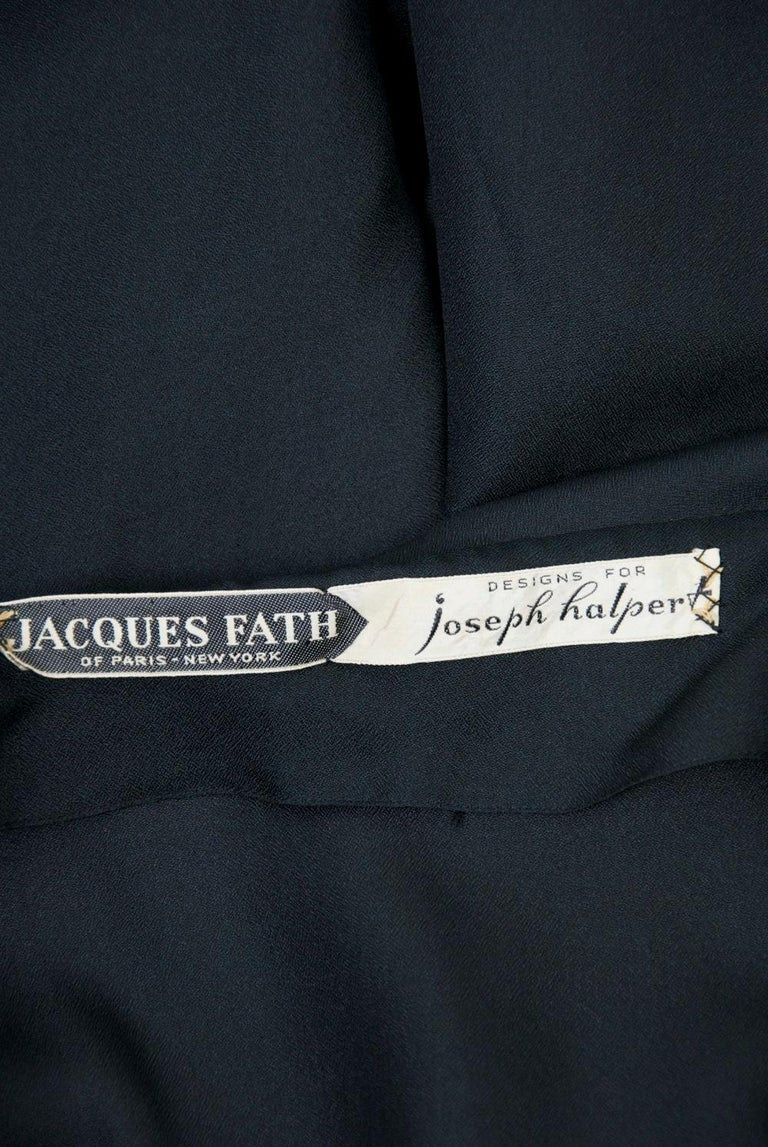 Jacques Fath 1950s Dress with Fringed Collar For Sale 3