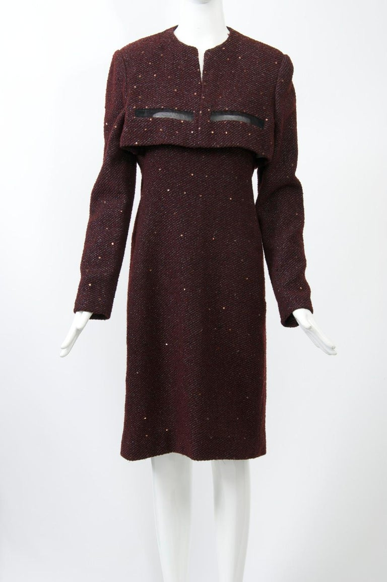 Black Geoffrey Beene Burgundy/Metallic Dress and Jacket For Sale