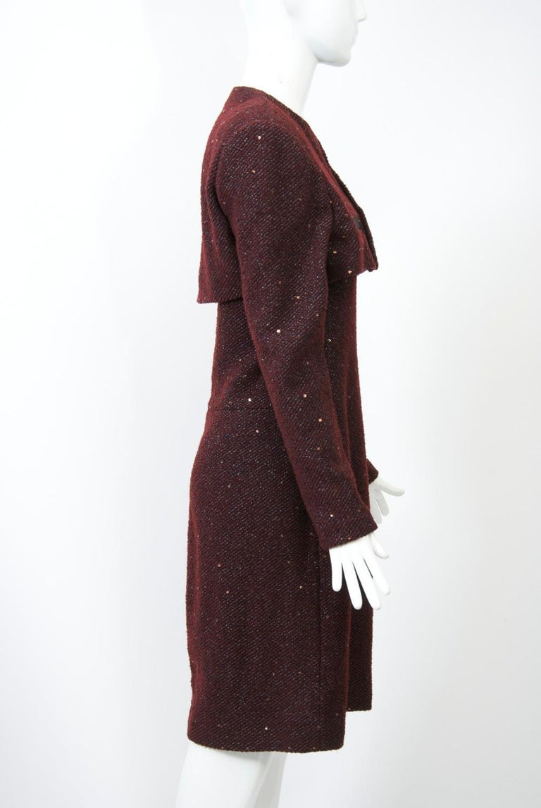 Geoffrey Beene Burgundy/Metallic Dress and Jacket In Excellent Condition For Sale In Alford, MA