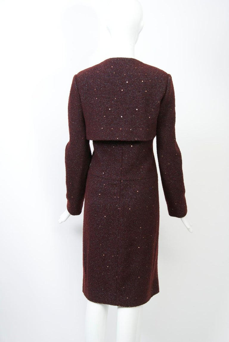 Women's Geoffrey Beene Burgundy/Metallic Dress and Jacket For Sale