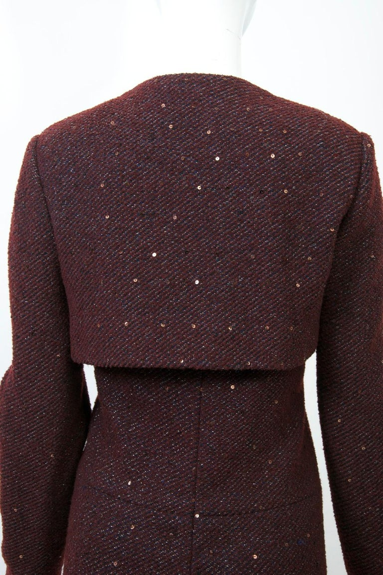 Geoffrey Beene Burgundy/Metallic Dress and Jacket For Sale 1
