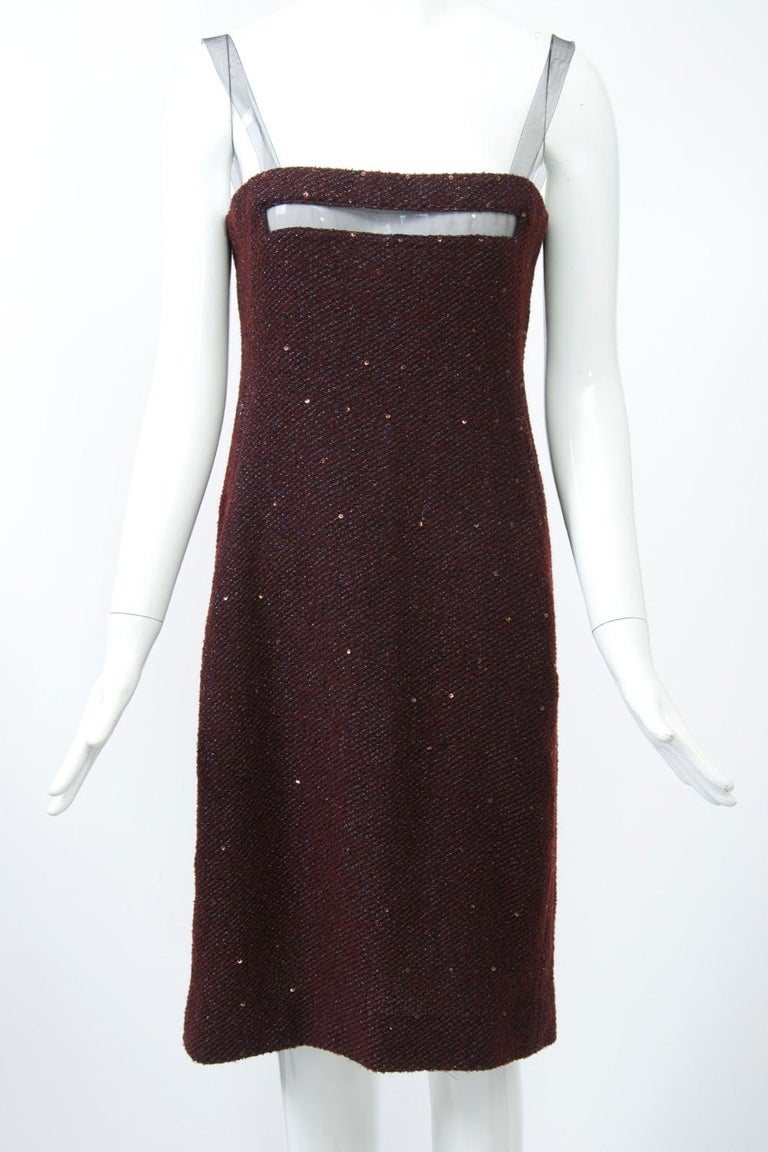 Geoffrey Beene Burgundy/Metallic Dress and Jacket For Sale 2