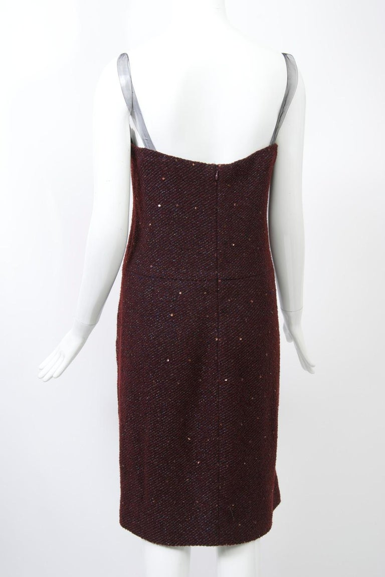 Geoffrey Beene Burgundy/Metallic Dress and Jacket For Sale 4