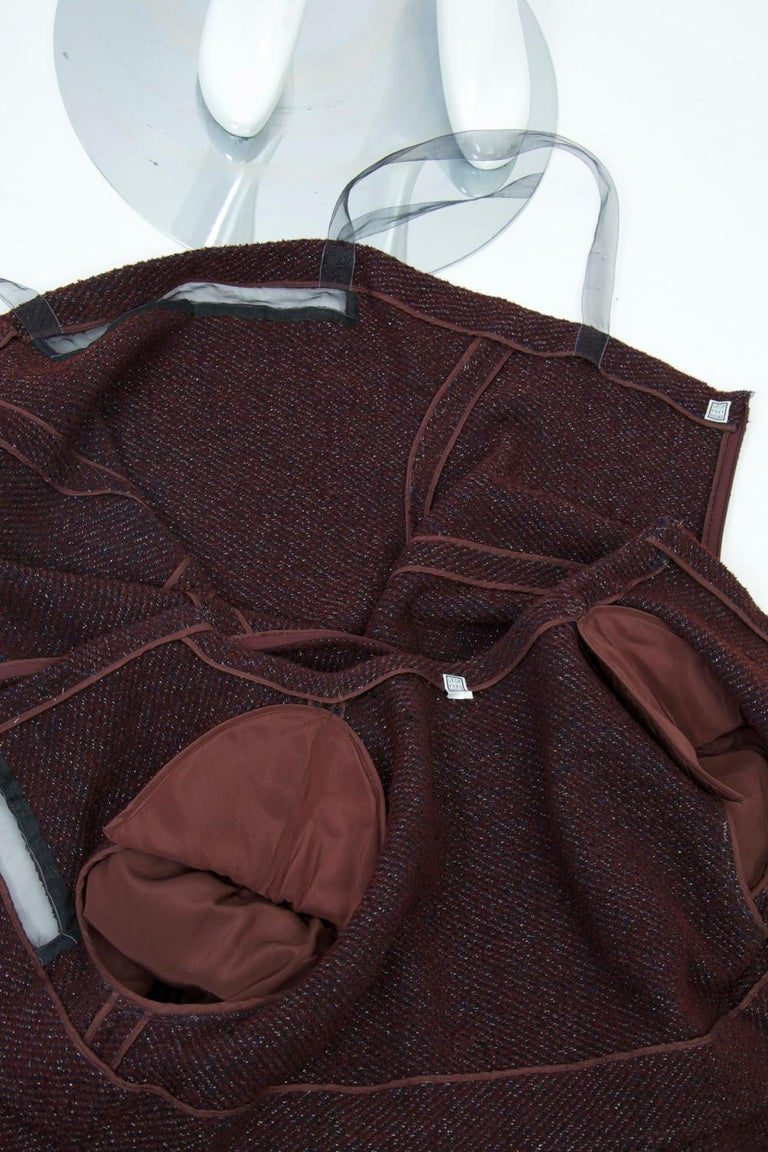 Geoffrey Beene Burgundy/Metallic Dress and Jacket For Sale 6