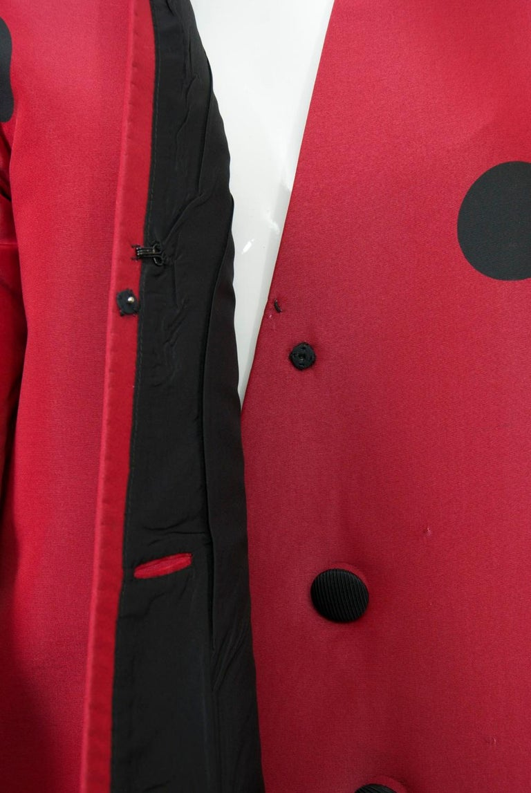 Geoffrey Beene Red and Black Silk Suit For Sale 6