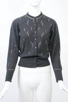 Charcoal Vintage Cardigan with Rhinestones