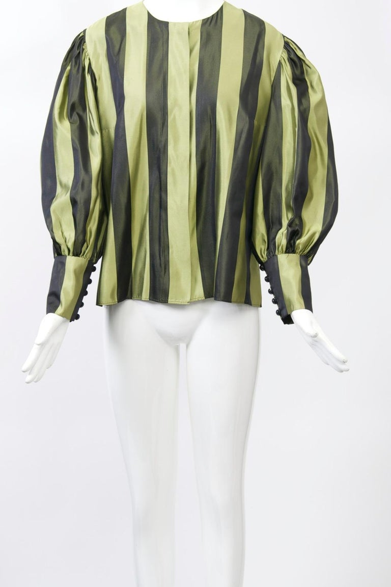 Black Striped Silk Blouse with Velvet Shawl For Sale