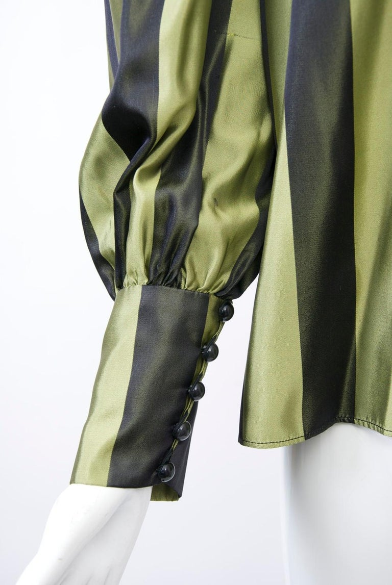 Striped Silk Blouse with Velvet Shawl In Good Condition For Sale In Alford, MA