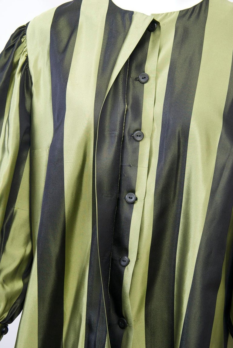 Women's Striped Silk Blouse with Velvet Shawl For Sale