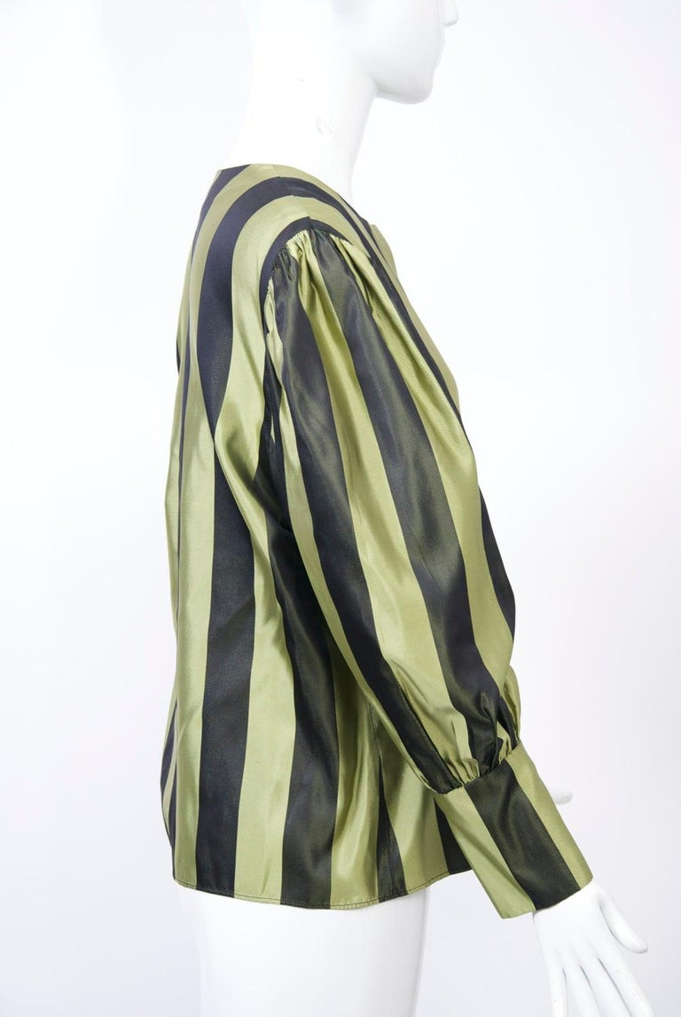 Striped Silk Blouse with Velvet Shawl For Sale 1