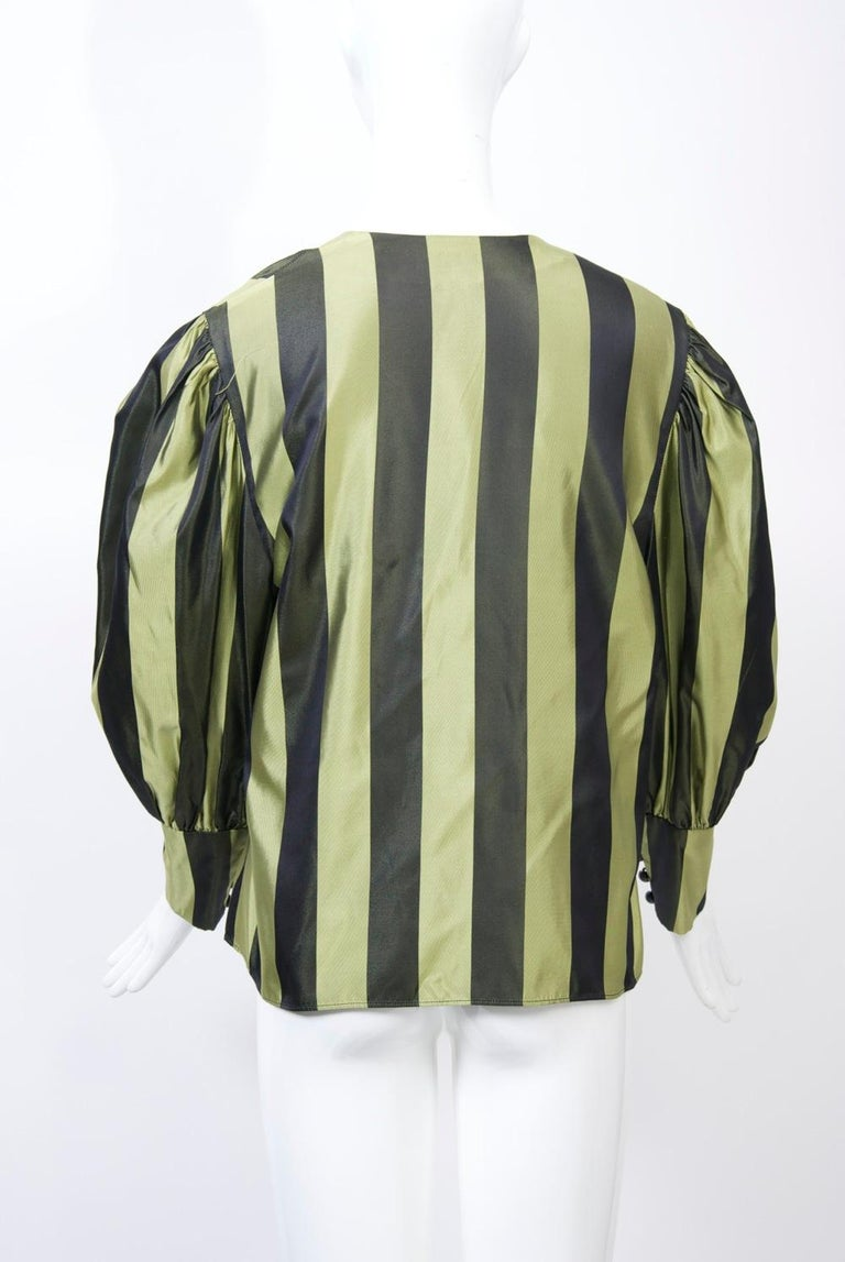 Striped Silk Blouse with Velvet Shawl For Sale 2