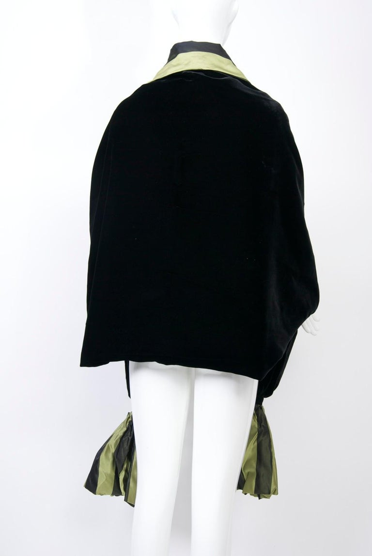 Striped Silk Blouse with Velvet Shawl For Sale 5
