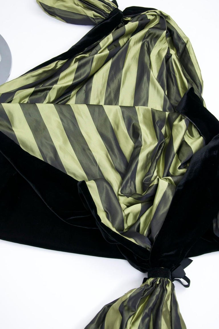 Striped Silk Blouse with Velvet Shawl For Sale 6