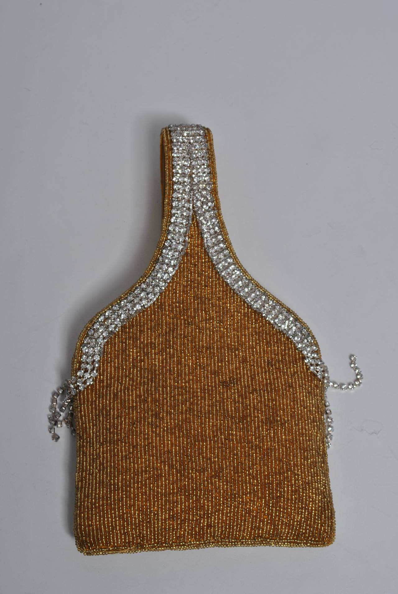 gold beaded and rhinestone evening bag at 1stdibs