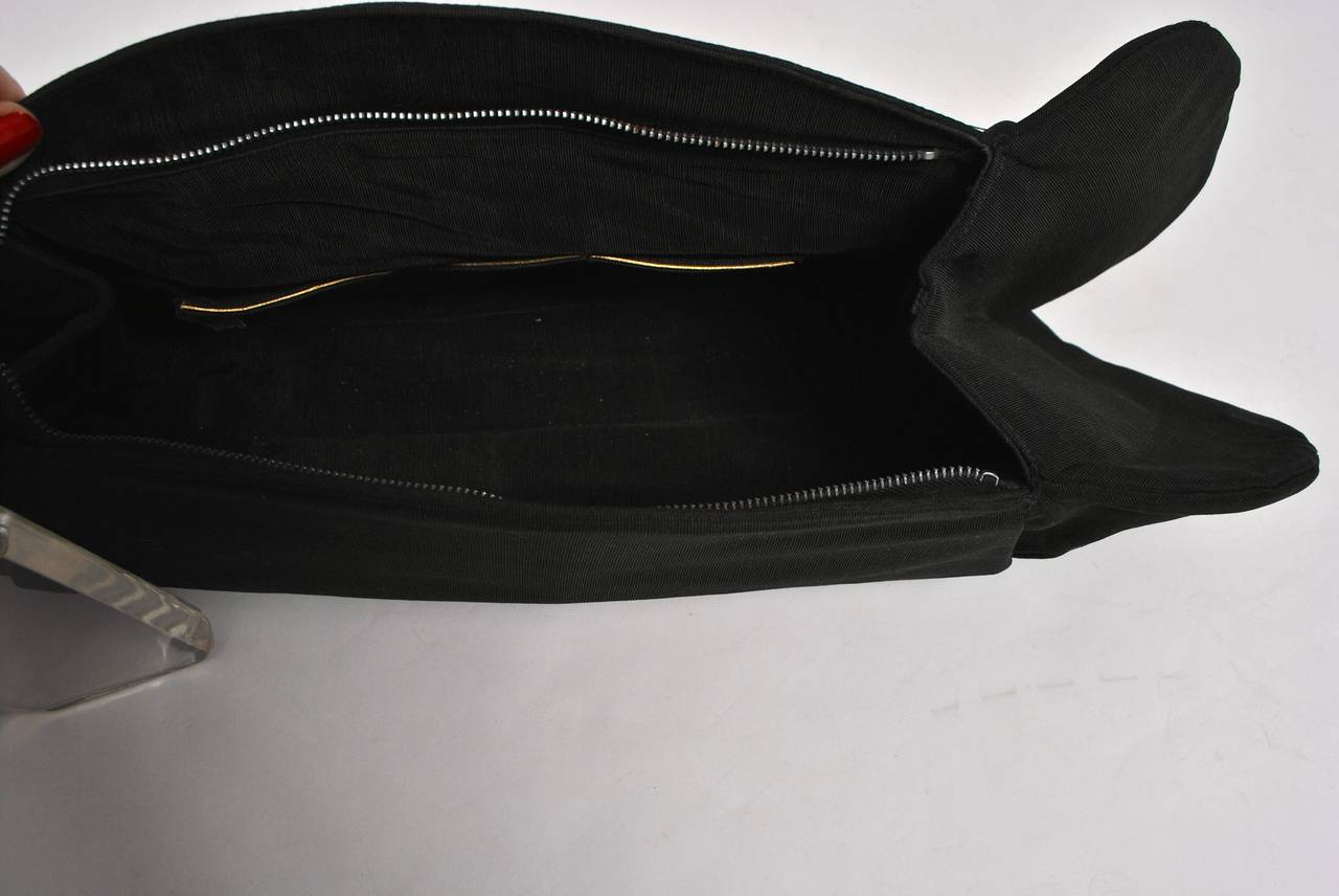 1940s Large Faille Clutch with Gloves 6
