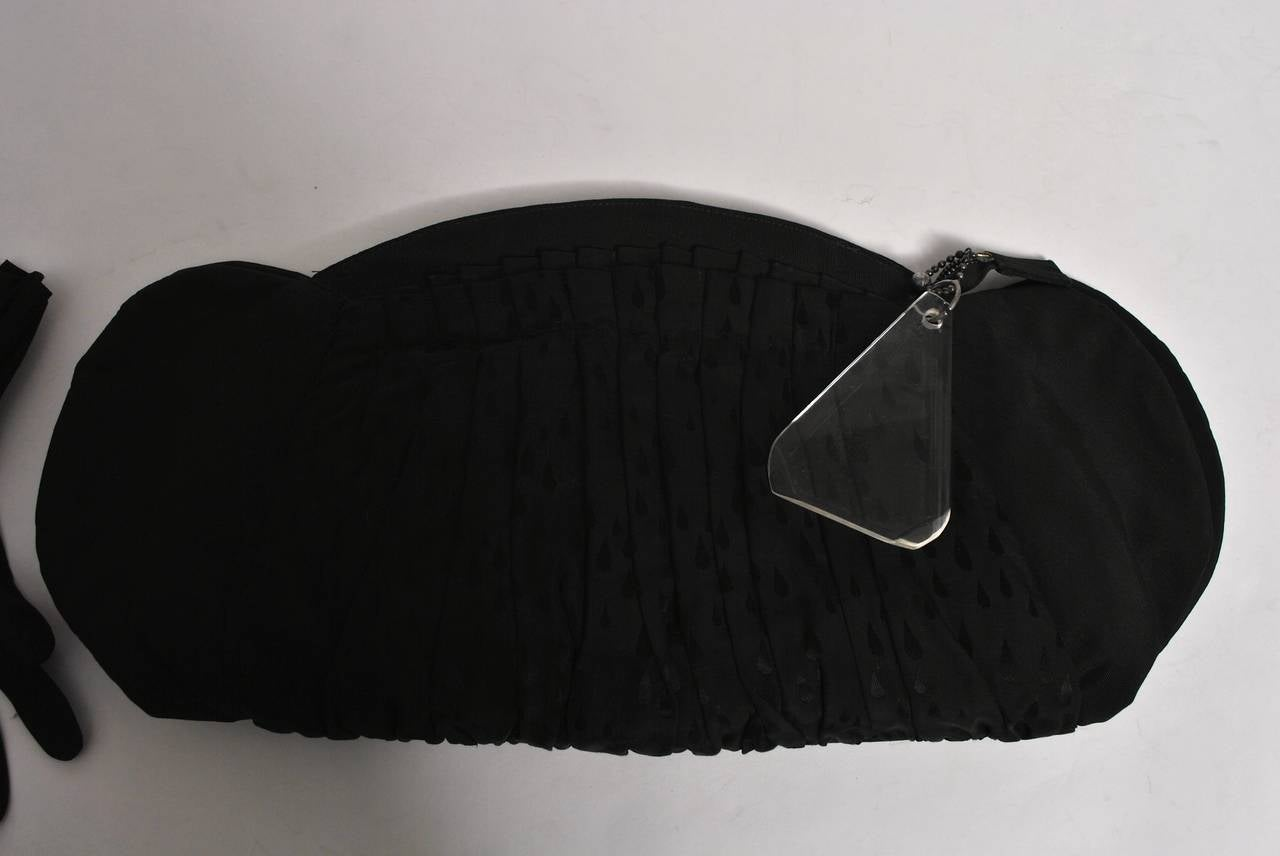 1940s Large Faille Clutch with Gloves 4