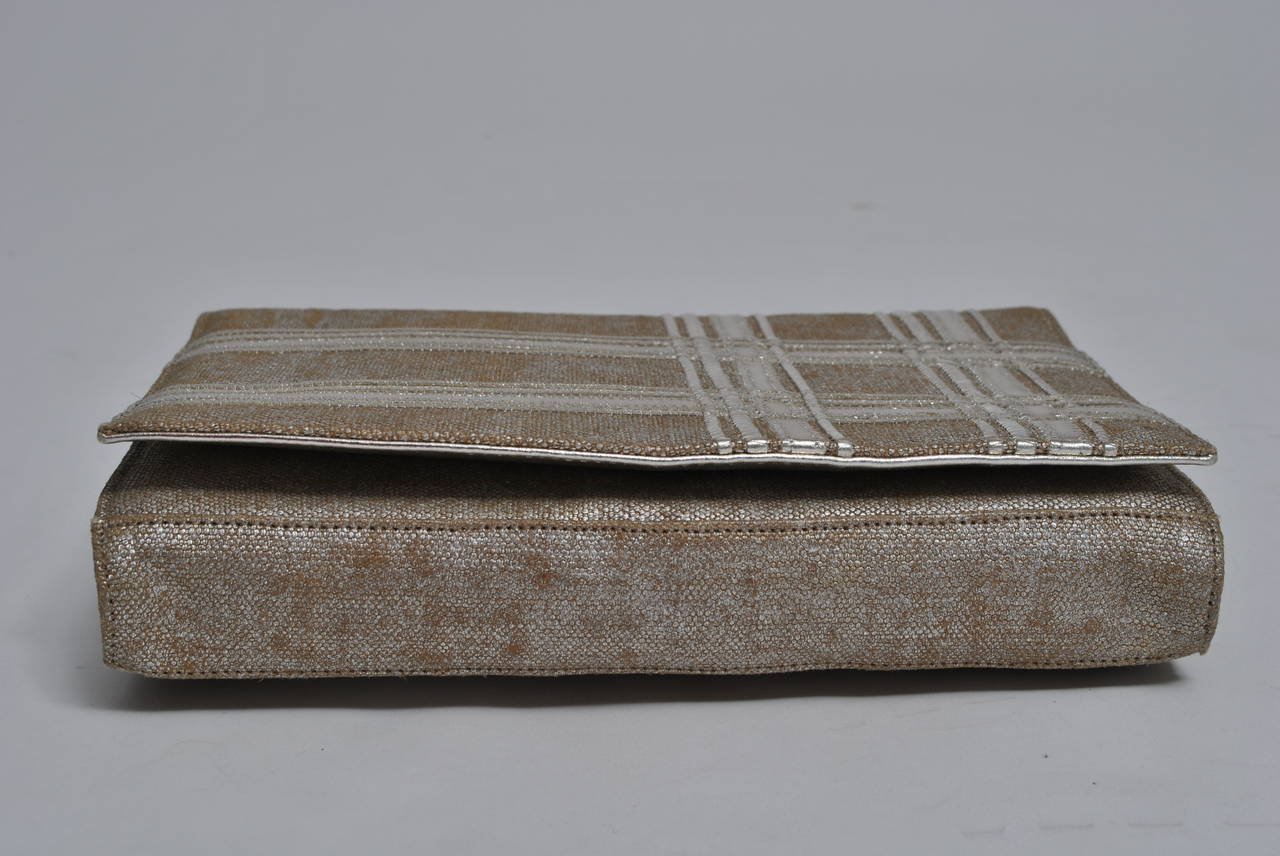 Women's Carlos Falchi Beige Linen and Silver Clutch For Sale