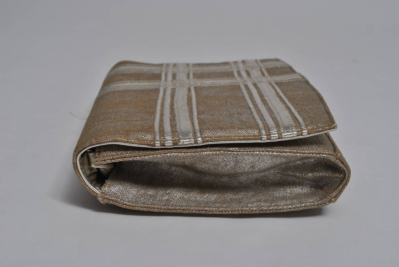 Carlos Falchi Beige Linen and Silver Clutch In Excellent Condition For Sale In Alford, MA