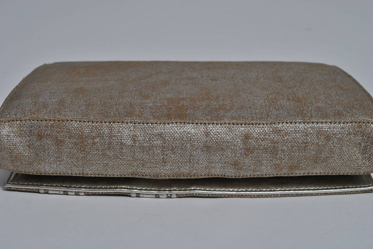 Gray Carlos Falchi Beige Linen and Silver Clutch For Sale