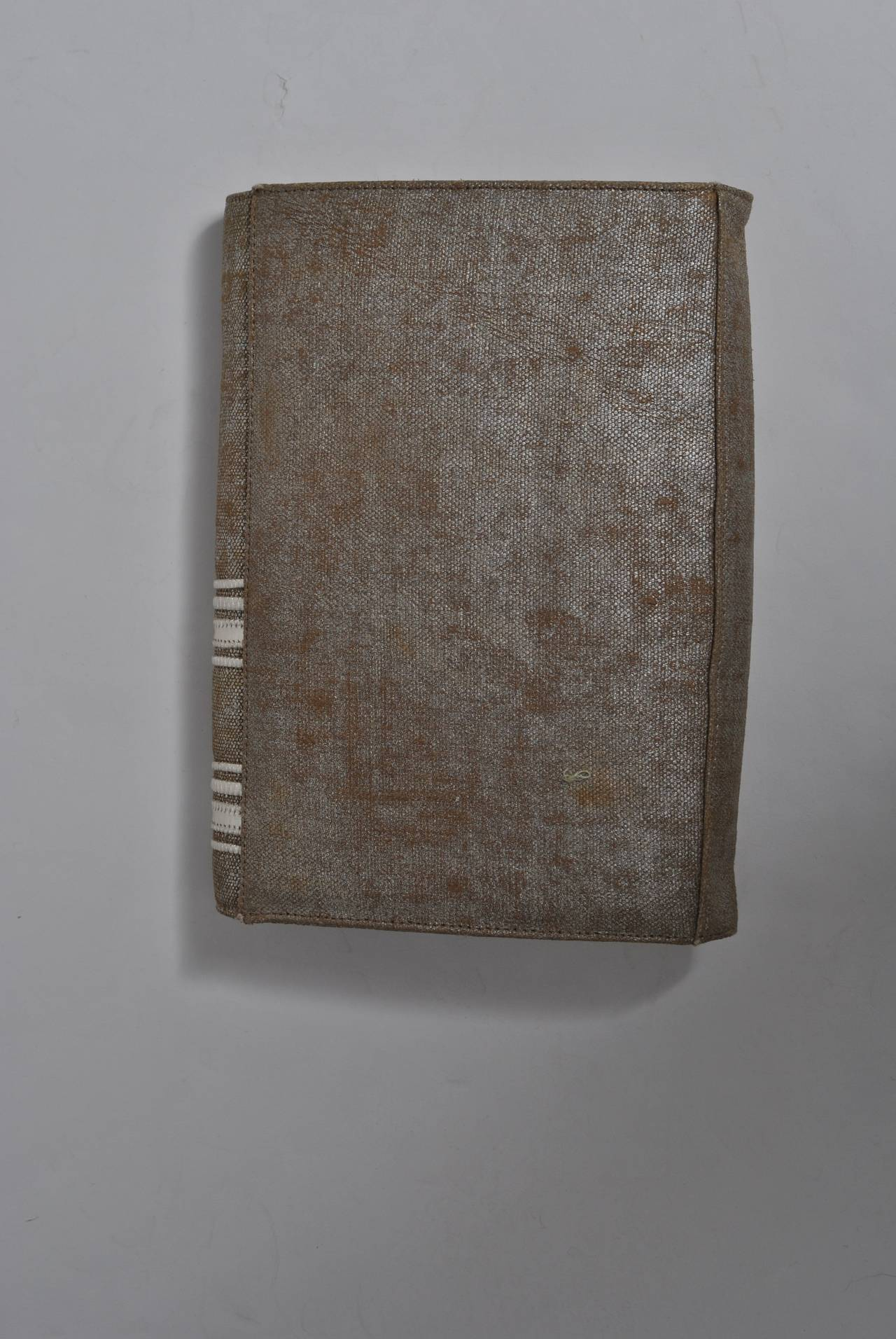 Carlos Falchi Beige Linen and Silver Clutch For Sale 2