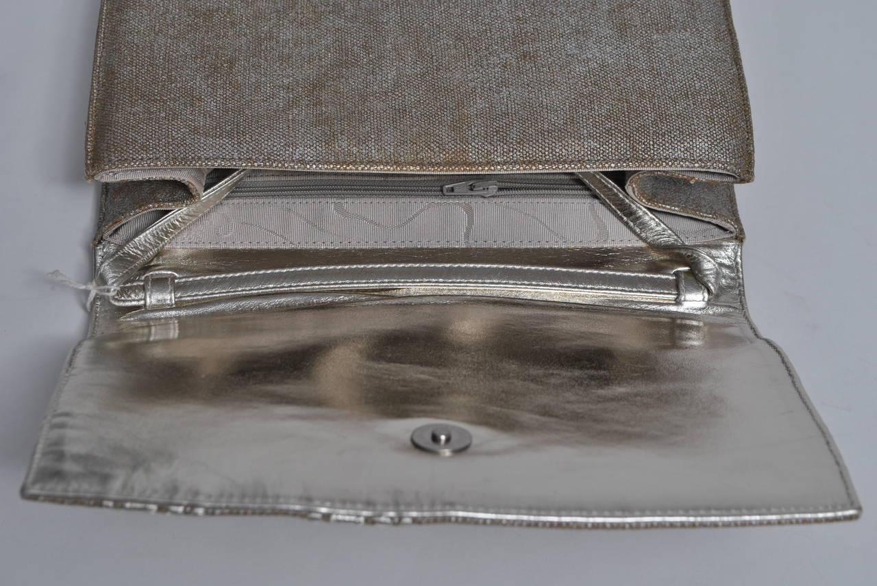 Carlos Falchi Beige Linen and Silver Clutch For Sale 3