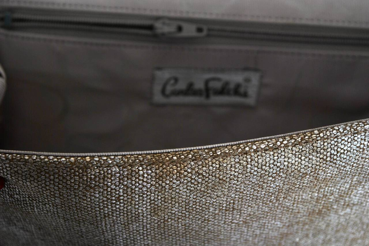 Carlos Falchi Beige Linen and Silver Clutch For Sale 5