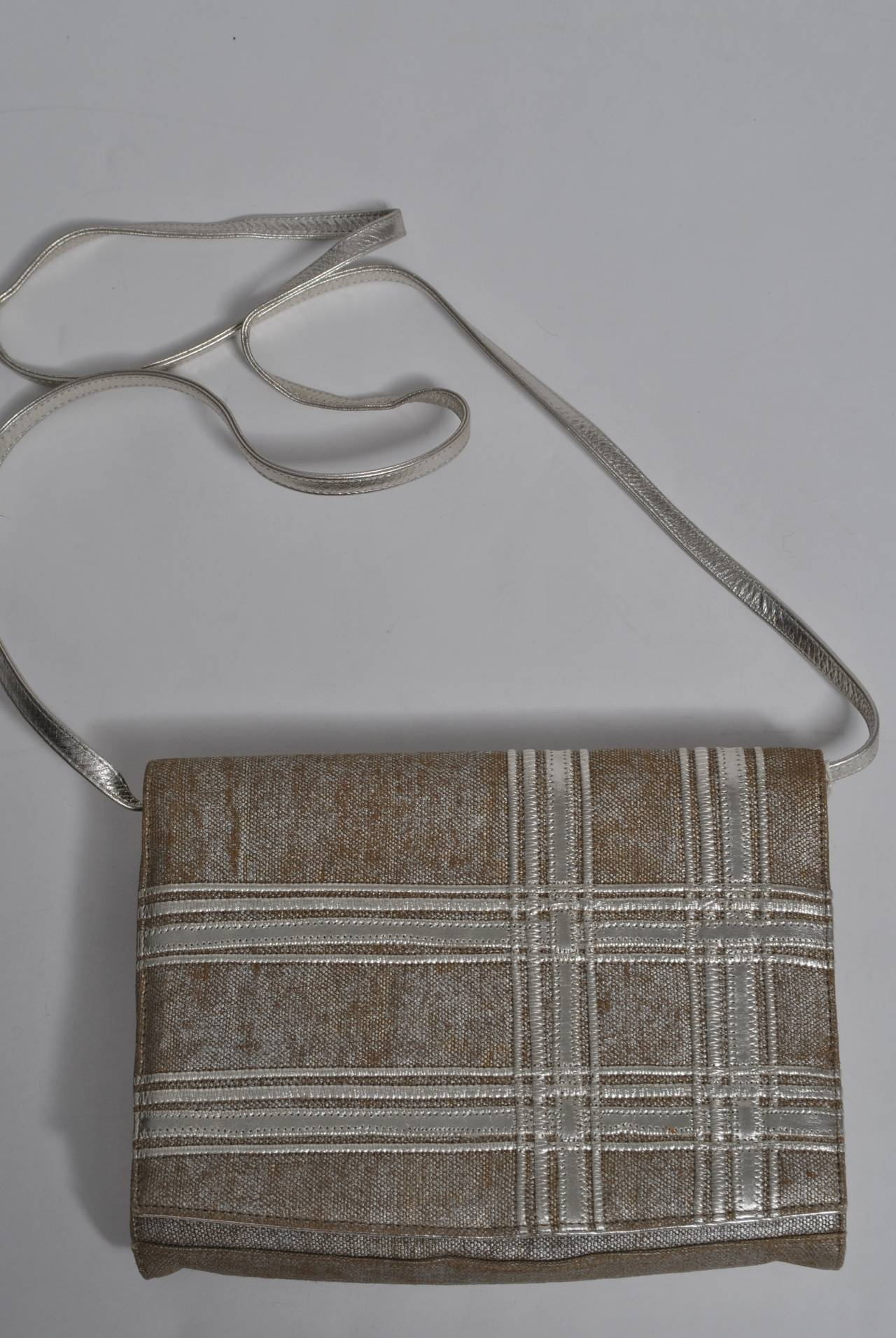 Carlos Falchi Beige Linen and Silver Clutch For Sale 4