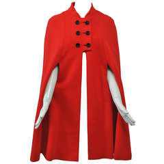 Mam'selle 1970s Red Wool Knit Cape