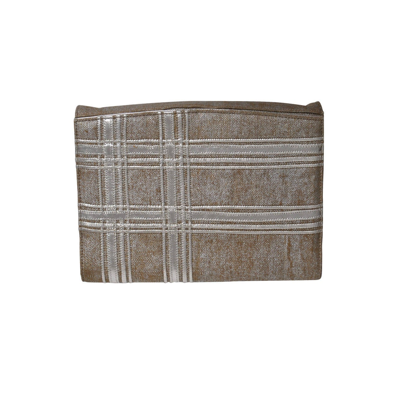 Carlos Falchi Beige Linen and Silver Clutch For Sale