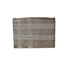 Carlos Falchi Beige Linen and Silver Clutch