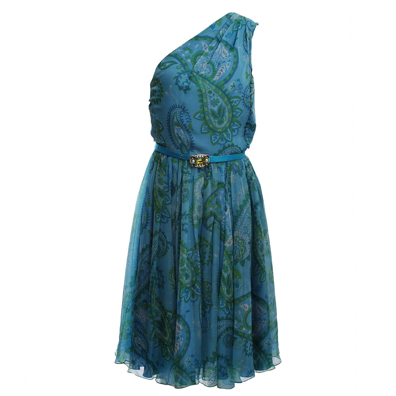 Dior Paisley Chiffon One-Shoulder Dress