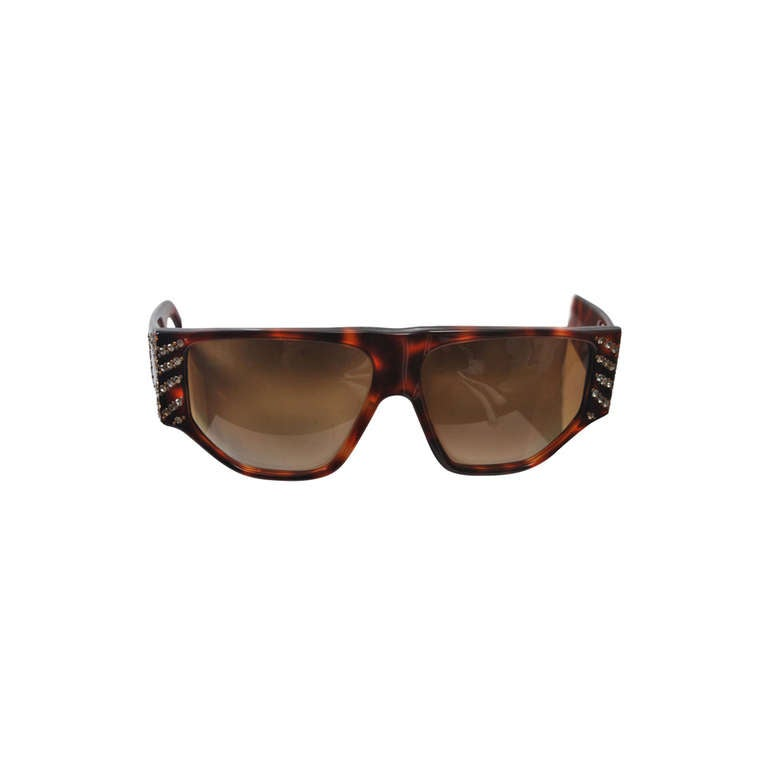 Emanuelle Khanh 1980s Tortoise and Rhinestone Sunglasses