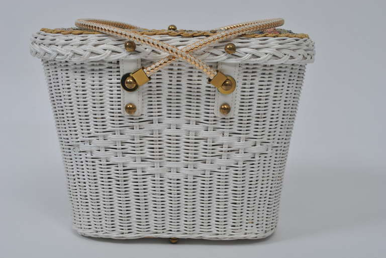 Midas Of Miami Decorated White Wicker Bag At 1stdibs