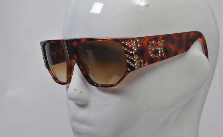 Brown Emanuelle Khanh 1980s Tortoise and Rhinestone Sunglasses For Sale