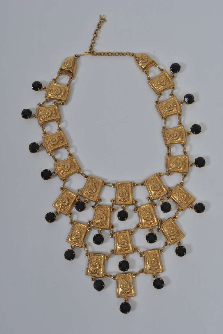 Marvella Bib Necklace with Black Stones 2