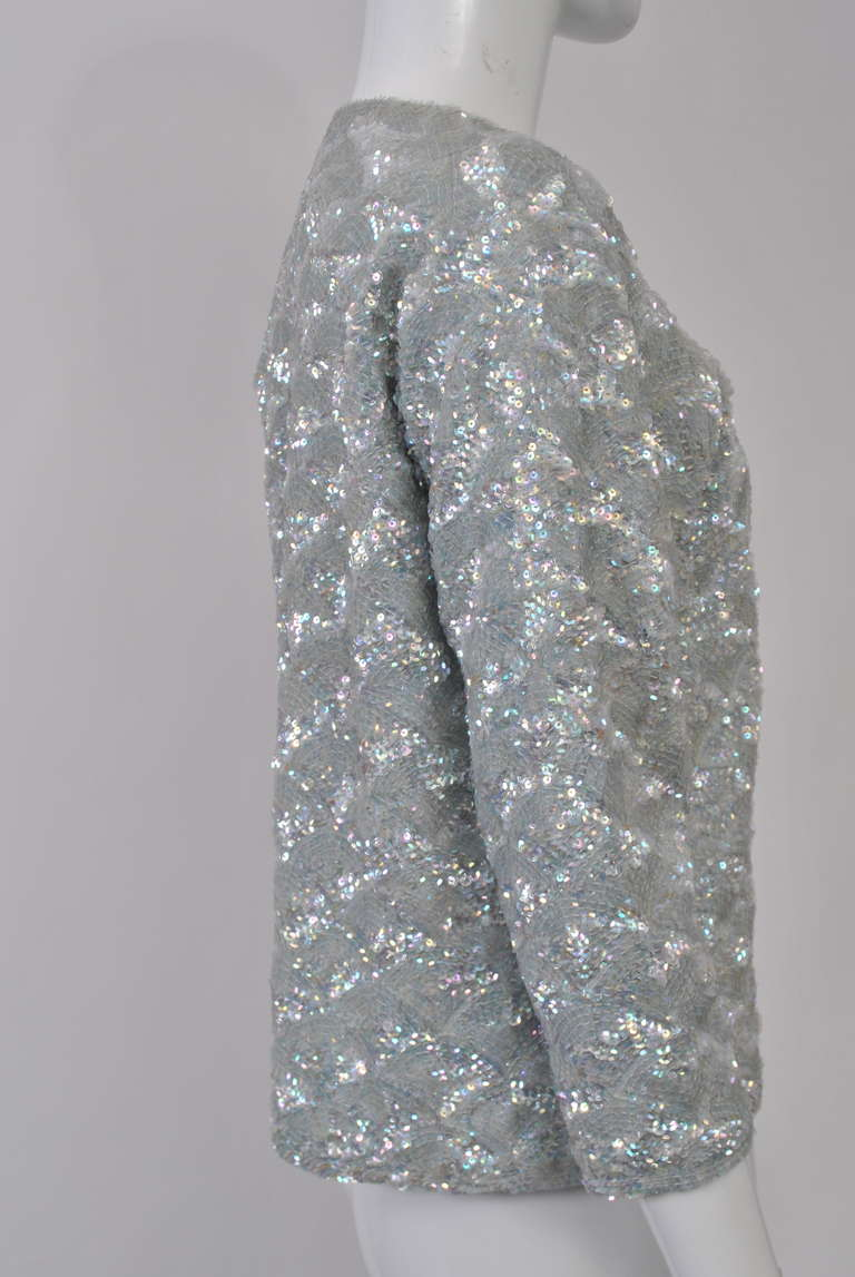 Women's 1950s Blue Sequined Cardigan For Sale