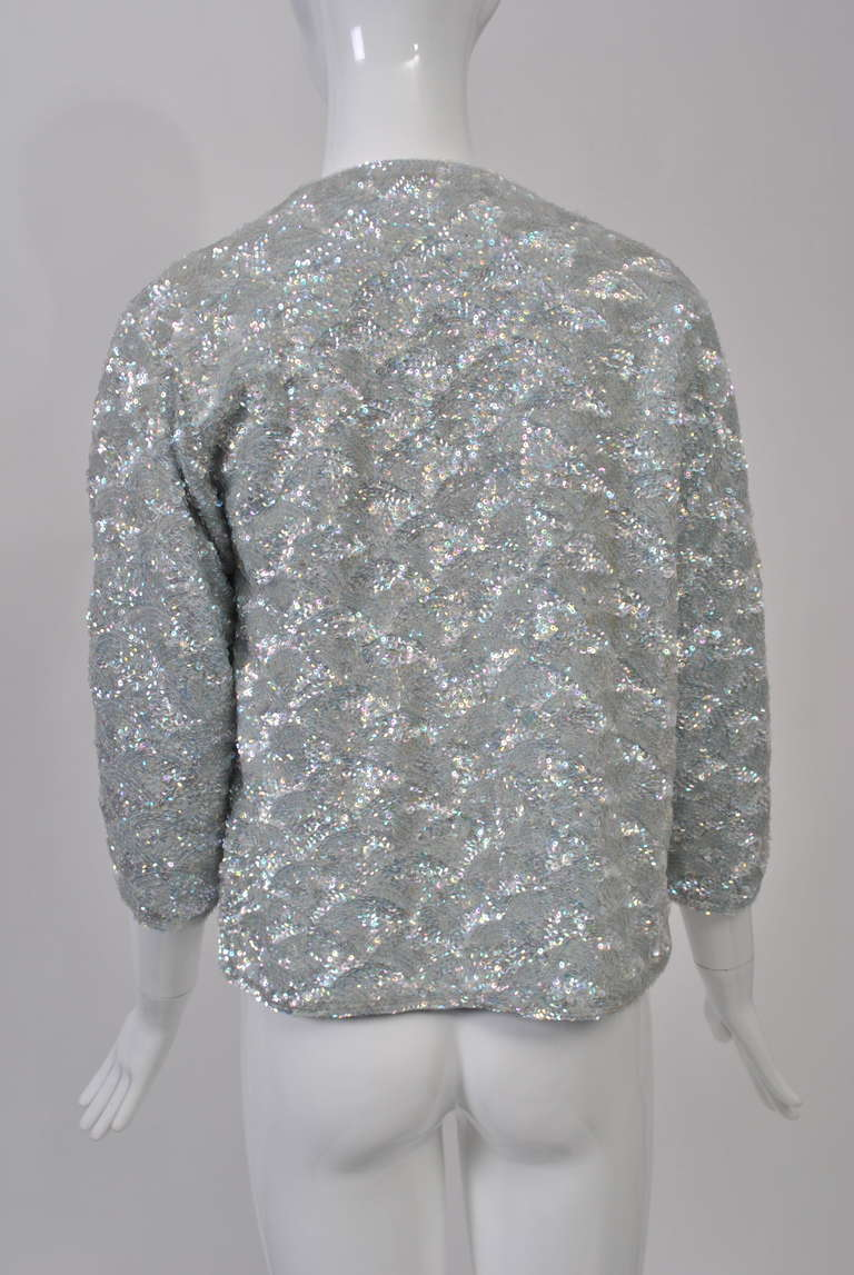 1950s Blue Sequined Cardigan For Sale 1