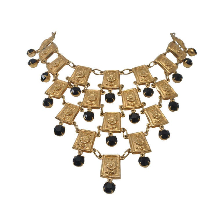 Marvella Bib Necklace with Black Stones 1