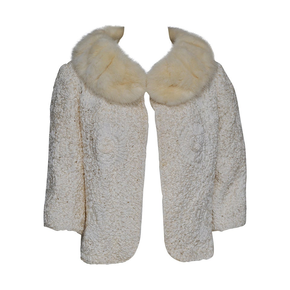 Ivory Ribbon Jacket with Mink Collar