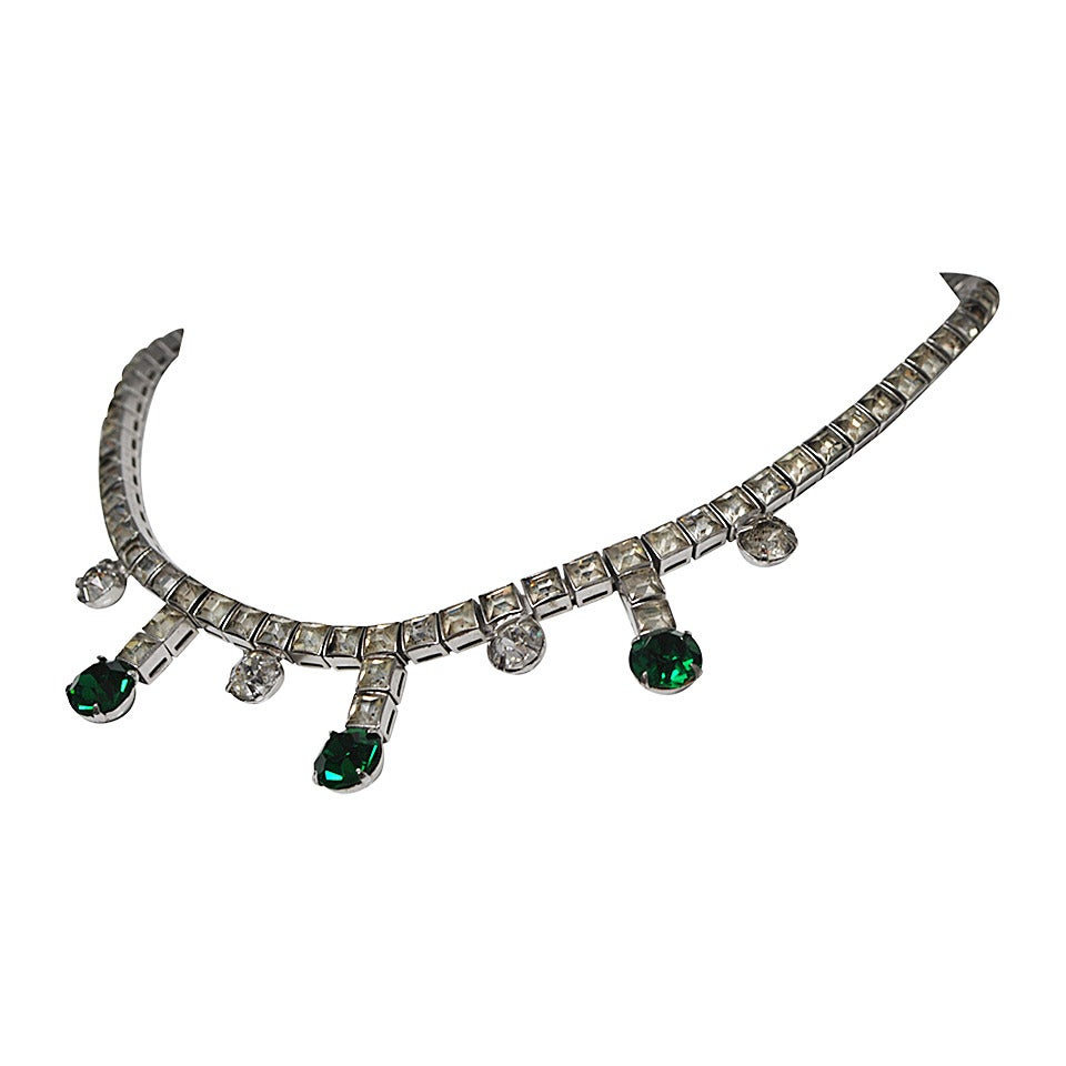 Vintage Rhinestone and Emerald Necklace 1