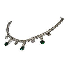 Vintage Rhinestone and Emerald Necklace